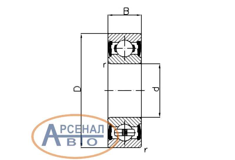 Схема подшипника 180205