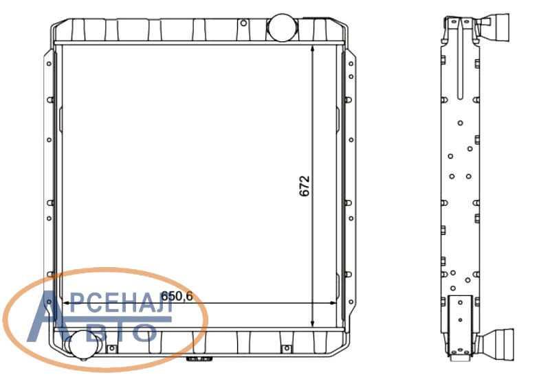 Размеры радиатора КамАЗ-54115