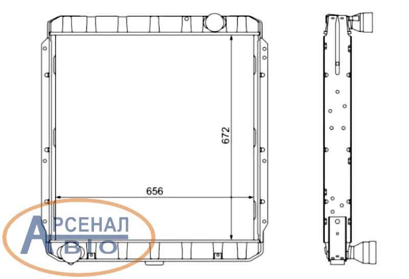 Чертеж радиатора автомобиля КамАЗ-54115