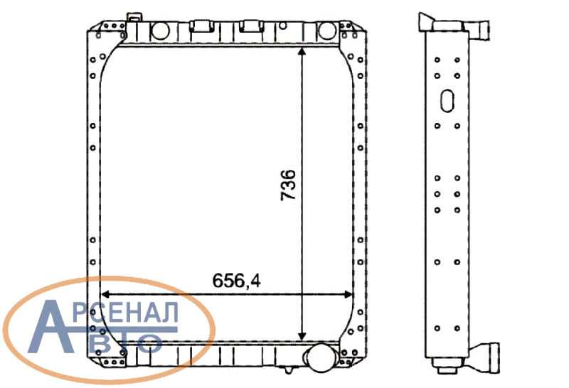 Схема и габаритные размеры радиатора