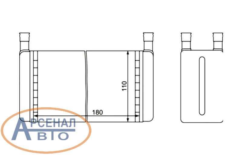 Схема радиатора отопителя старого образца