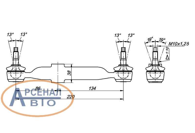Схема и размеры тяги переключения КПП КамАЗ