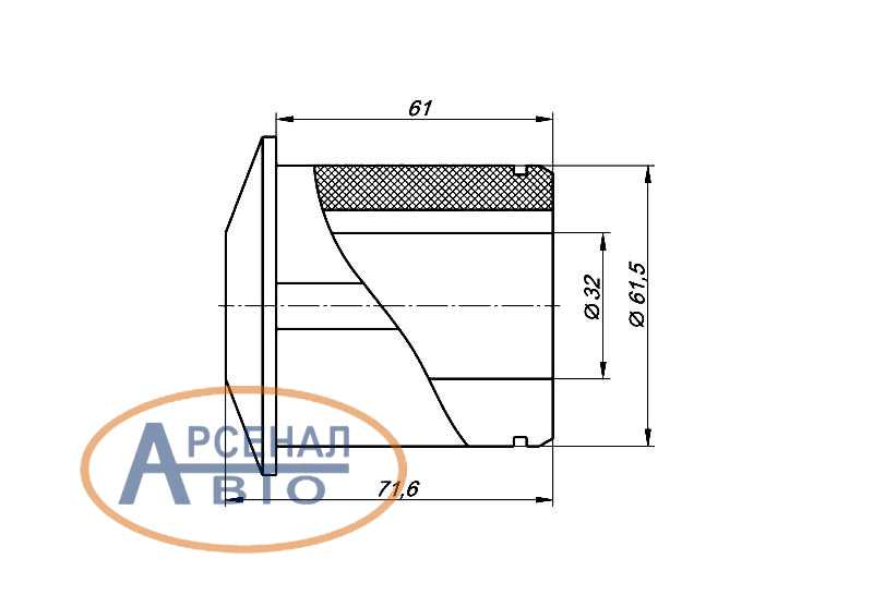 Сечение с размерами подушки стабилизатора КамАЗ