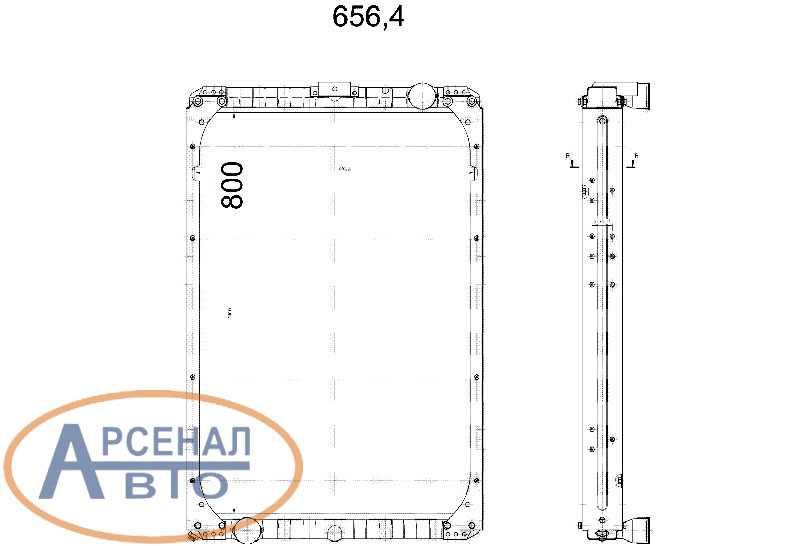 Схема и установочные размеры радиатора камаз