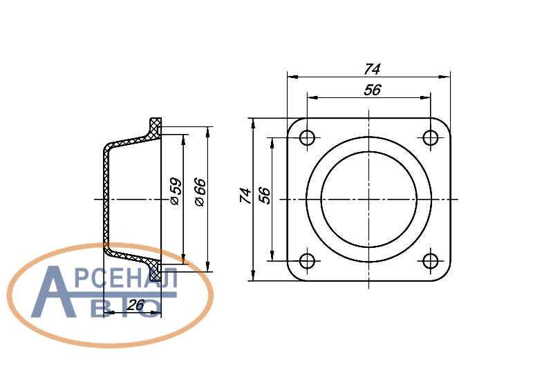 Размеры крышки шкворня КАМАЗ-6520