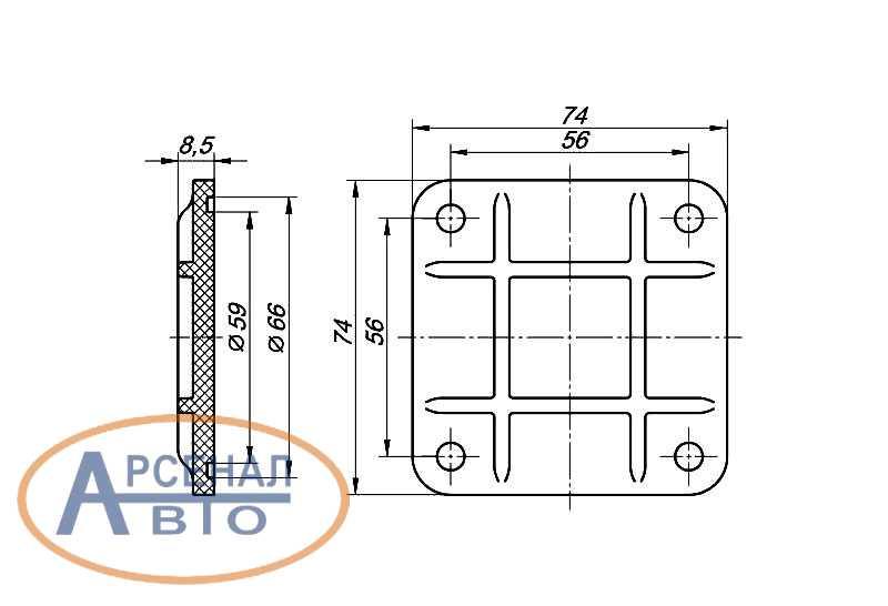 Схема крышки шкворня КамАЗ-6520 нижней