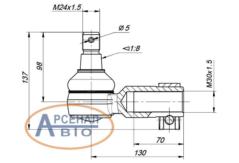 Схема и размеры наконечника тяги поперечной КамАЗ