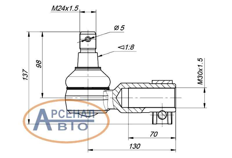 Схема и размеры наконечника тяги поперечной КамАЗ левого