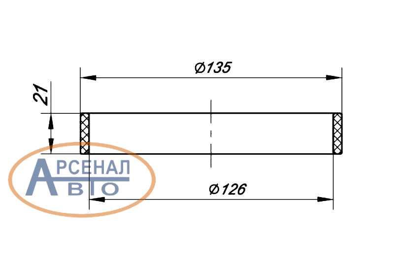 Размеры в сечении кольца КАМАЗ ЕВРО проставочного