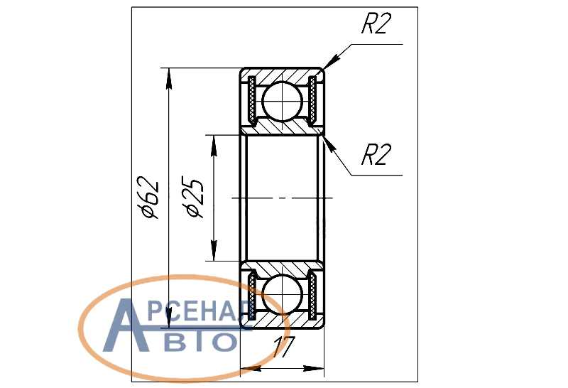 Схема и установочные размеры шарикоподшипника