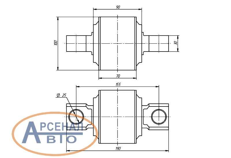 Схема и размеры ремонтного шарнира