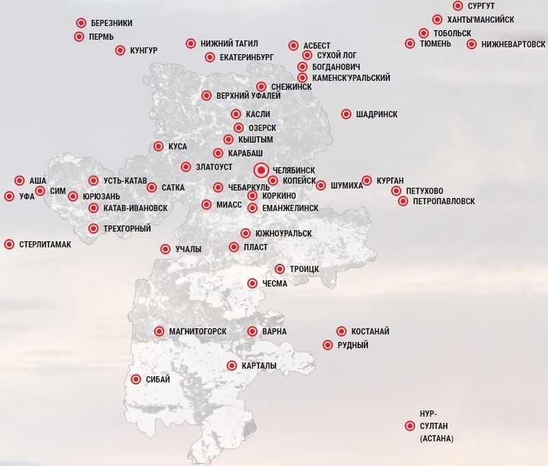 Карта городов доставки