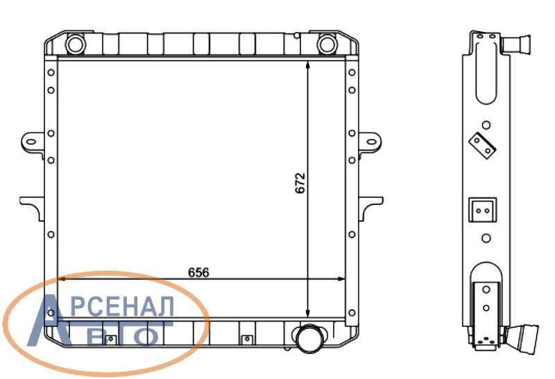 Схема и размеры радиатора