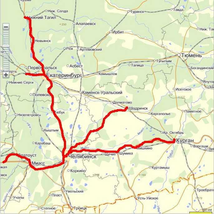 Карта маршрутов доставки запчастей